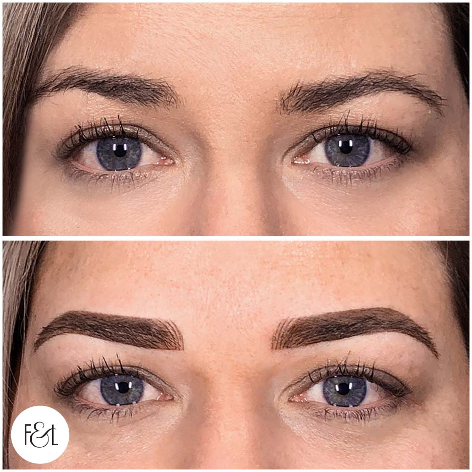 before and after brow tattoo